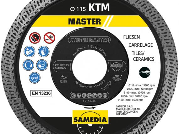 MASTER KTM, a diamond blade by SAMEDIA for tiles cutting - 115 mm